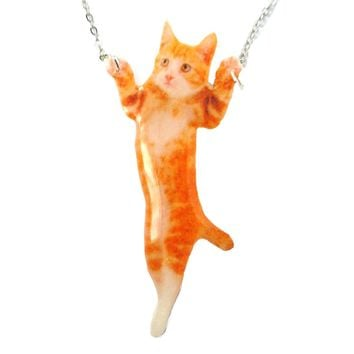Adorable Orange Tabby Kitty Cat Standing Up Shaped Pendant Necklace