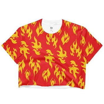 Flame Print Sublimated Crop Top