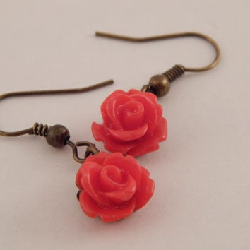 Cute Vintage Rose Dangle Earrings
