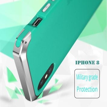 Apple iphone 8 Case Cover Metal Silicone PC Military Grade Shockproof Shell for iPhoneX