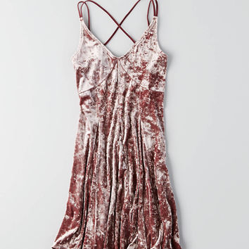 AEO Crushed Velvet Slip Dress, Multi