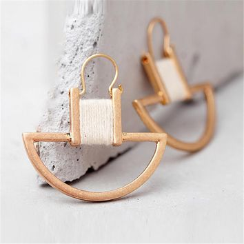 FYUAN Unique Design High Quality Handmade Thread Sector Alloy Earrings for Women Fashion Drop Earrings Jewelry Accessories