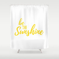 Sunshine Home Decor, White and Yellow, Sunny Bathroom, Be The Sunshine, Motivational Bath, Fabric Shower Curtain, Happy Sayings