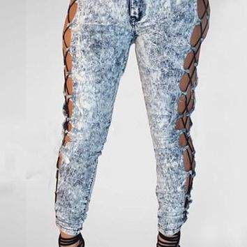 Fashion Style ladies 2017 denim pants hollow out sexy jeans full length bodycon pants SY1227
