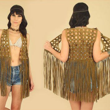 ViNtAgE 60's 70's Cut Out Suede Fringe Vest // Studded // Extra Long Fringe // Woodstock Era // Leather Rocker Hippie Gypsy Festival M / L