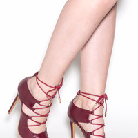 On Your Merry Way Faux Leather Heels