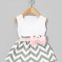 Caught Ya Lookin' Gray Chevron Bow Dress - Infant & Toddler | zulily