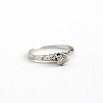 Sale - Antique 14k White Gold Art Deco .15 CT Solitaire Diamond Flower Embossed Ring - Vintage Size 3.5 1920s Fine Engagement Bridal Jewelry