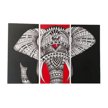 Giant Wall Elephant Print, Elephant Art, Elephant Painting, Multi Canvas, Elephant Africa Design, Tribal Elephant