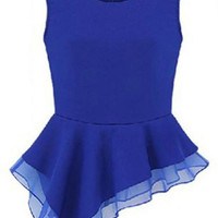 ROMWE | Asymmetric Sleeveless Blue Blouse, The Latest Street Fashion