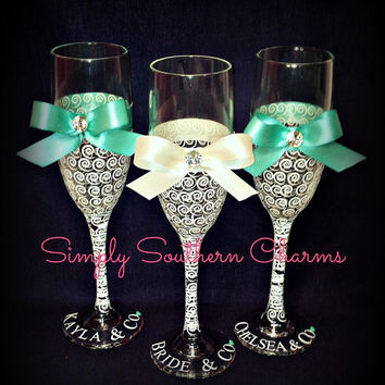 5 Personalized Tiffany's Inspired Wedding Champagne Glasses, Bridesmaid and Maid of Honor Glasses