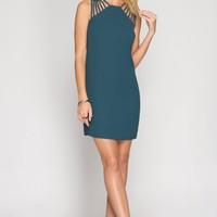 Teal Multi Strap Dress
