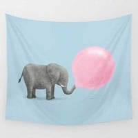 Cute Playing Elephant with Pink Balloon Wall Hanging Tapestry