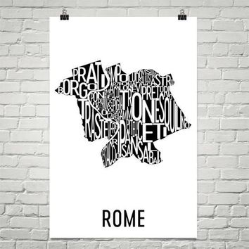 Rome Neighborhood Typography Prints – Modern Map Art