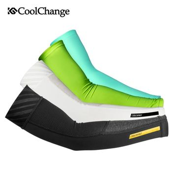 CoolChange Ice Fabric Cycling Arm Warmers Summer Sports MTB Bike Arm Sleeve UV Protection Running Basketball Bicycle Arm Sleeves