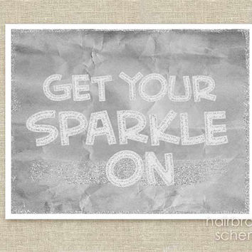 Digital Art Print Get Your Sparkle On Silver by hairbrainedschemes