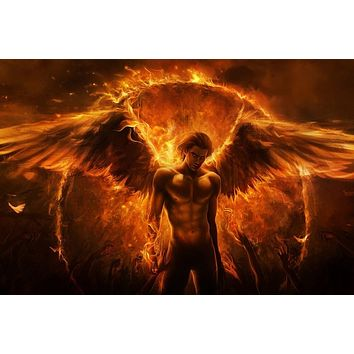fire wings angel canvas fabric poster (frame available) for wall decor room decor home decoration