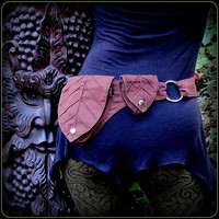 Leaf Pocket Utility Belt ~ Green Man Elf Forest ~brown canvas fabric ~ Adjustable from Small to Extra Large ~ unisex