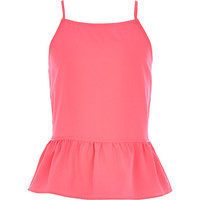 River Island Girls pink bow back peplum cami top