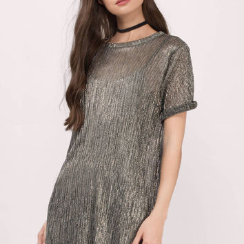 Shine Bright Metallic Shift Dress