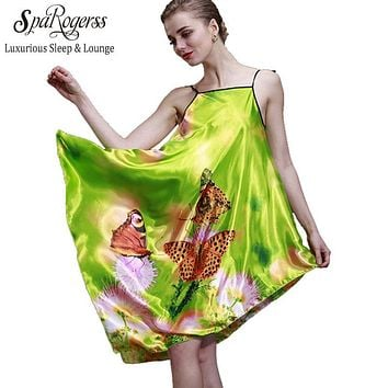 SpaRogerss Women Faux Silk Nightgown 2017 Brand Summer Ladies Satin Butterfly Print Sexy Sleep Lounge Female Dressing Gown 10018