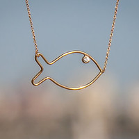 Dainty Gold Necklace - Delicate Gold Necklace -  Minimalist Fish Necklace - Pisces Necklace- Dainty Fish Necklace, Lucky Necklace