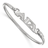 925 Rhodium Flashed Silver Alpha Gamma Delta Bangle Bracelet