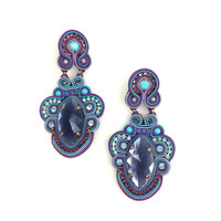 Purple & Blue Gardenia Earrings