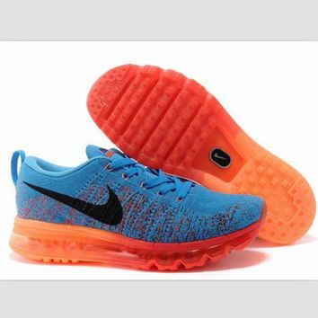 NIKE air cushion flying line woven rainbow casual shoes sports shoes Sapphire blue ora