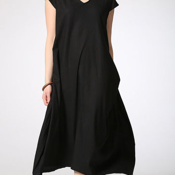 Black midi linen dress women dress (C421)