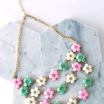 Floral Tri-Chain Necklace