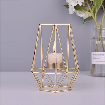Nordic Style Wrought Iron Geometric Candle Holders Home Decor