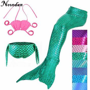 Cool 3PCS/Set The Little Mermaid Tail Costume Princess Ariel Children Mermaid Tail Cosplay Kids For Girl Fancy SwimsuitAT_93_12
