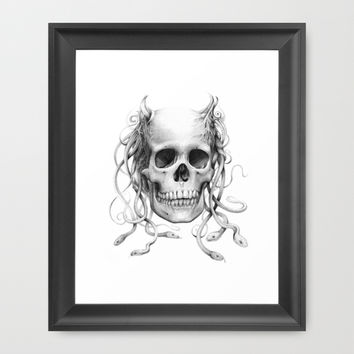 Medusa Skull Framed Art Print by Olechka