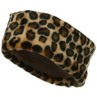 Fun Fur Head Band - Brown Leopard