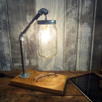 Rustic Industrial Chic Desk Lamp Barnwood Pipe Mason Jar Light Primitive Housewares Lighting  Office