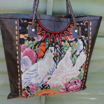 Handmade bag, Guatemalan tote bag,  huipil bag, shoulder bag, VINTAGE HUIPIL, embroidery , hand stitch leather, gift for her.