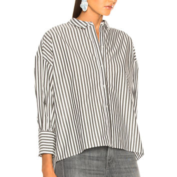 NILI LOTAN Fulton Shirt in Black & White Stripe | FWRD