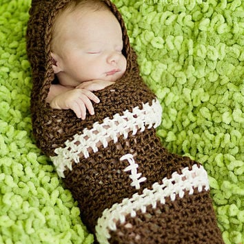 Crochet-Unisex Hooded Football Cocoon, This item comes in classic colors but you can contact me to request your team colors.