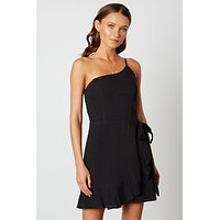 One Shoulder Ruffle Dress - Black