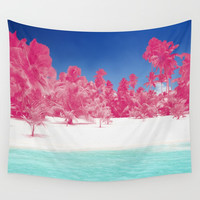 Pink Palms Wall Tapestry by Kate & Co.