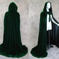 Artemisia Designs Renaissance Lined Velvet Cloak Dark Green and Black One Size