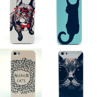 New Cute Cartoon Cat&Dog Animal Style Hard Plastic Back Mobile Phone Case Cover For Iphone 4 4S 5 5S