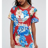 Adidas Casual Sports Running Floral Print Short Sleeve Shirt Top Tee
