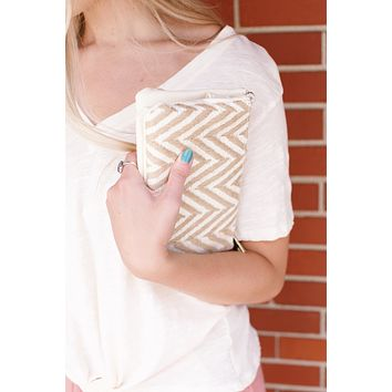 Liz CrossBody Clutch, Straw Chevron