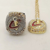 Cleveland Cavaliers Championship Rings And Necklace