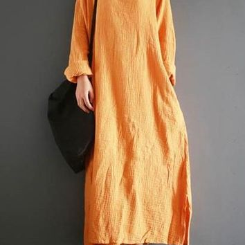 ZANZEA Autumn Retro Cotton Linen Kaftan Vestido Women Turtle Neck Long Sleeve Split Long Dress Casual Loose Solid Plus Size 2018