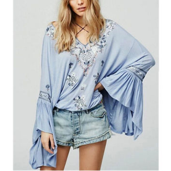 """Bell Sleeve Boho Top """"Siren Song"""" Light Blue Embroidered Peasant Top With Tassels Sizes Small Medium Or Large"""
