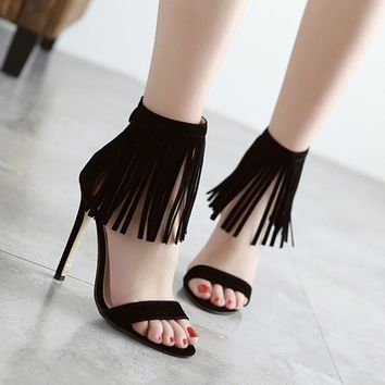 Pointed Toe High Thin Heels Tassel