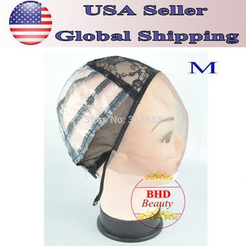 Freeshipping-Front Lace Weaving Wig Cap Foundation Inside Inner Base Wig Making Hair Extension Weft DIY  Medium Size 1317#